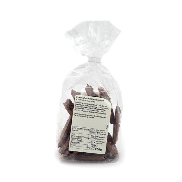 Dinkel Knusperwaffeln mit Mandelsplittern und Vollmilch Schokolade