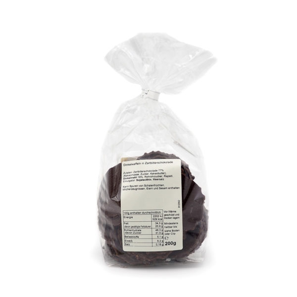 Dinkel Knusperwaffeln mit Zartbitter Schokolade