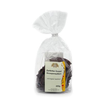 Dinkel Knusperwaffeln mit Ingwer und Zartbitter Schokolade
